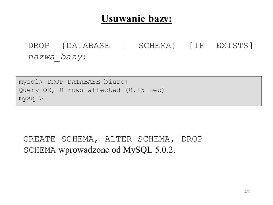 Usuwanie bazy: DROP {DATABASE | SCHEMA} [IF EXISTS] nazwa_bazy;